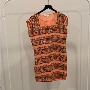 Tribal printed coral linen dress